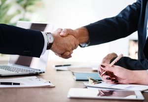 Business etiquette handshake